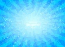 Molecola poligonale blu geometrica e comunicazione del fondo Linee collegate con i punti Fondo di minimalismo Concetto della s illustrazione vettoriale