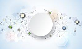 Molecole astratte e comunicazione - concetto sociale di tecnologia di mezzi d'informazione illustrazione vettoriale