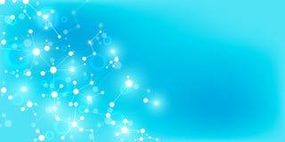 Molecole astratte su fondo blu molle Strutture molecolari o filo del DNA, rete neurale, ingegneria genetica royalty illustrazione gratis