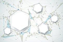 Molecole con carta 3D e poligonale astratti sul fondo grigio chiaro di colore illustrazione vettoriale