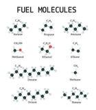 Molecole del combustibile messe Immagini Stock Libere da Diritti