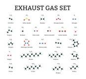 Molecole del gas di scarico messe Immagine Stock Libera da Diritti