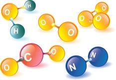 Molecole dell'atmosfera terrestre Fotografia Stock