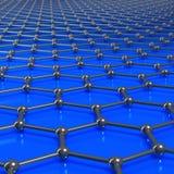 Molecole di Graphene che formano un fondo collegato con il reparto limitato Immagini Stock Libere da Diritti
