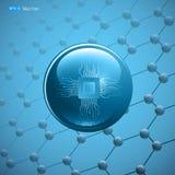 Moleculair deeltje met microchip Royalty-vrije Illustratie