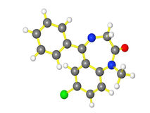 Moleculair model van diazepam Stock Fotografie