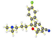 Moleculair model van escitalopram Stock Afbeeldingen