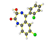 Moleculair model van lorazepam Stock Foto's