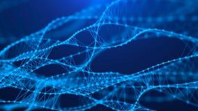 Moleculaire achtergrond met DNA Netwerkconcept met het verbinden van punten en lijnen Grote gegevensvisualisatie het 3d teruggeve vector illustratie