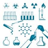 Moleculaire elementen en van reageerbuis zwarte pictogrammen inzameling op wit Stock Afbeelding