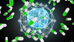 Moleculaire gevolgen van drug voor de hersenen stock illustratie