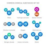 Moleculaire structuren van gemeenschappelijke chemische substanties Stock Afbeelding