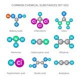 Moleculaire structuren van gemeenschappelijke chemische substanties Royalty-vrije Stock Fotografie