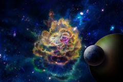 Molecular cloud and a planet stock illustration