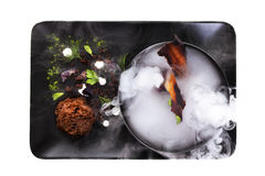 Molecular Cuisine. Culinary abstraction. Royalty Free Stock Photography