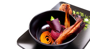 Molecular Cuisine. Delicious soup with beetroot. Royalty Free Stock Image