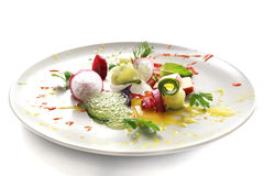 Molecular cuisine vegetable salad Royalty Free Stock Photos