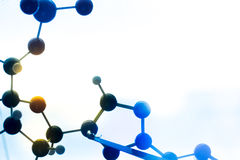 Molecular, DNA and atom model in science research lab stock photos