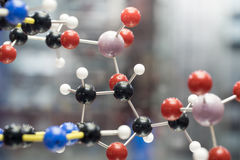 Molecular, DNA and atom model in science research lab. Taken in studio Royalty Free Stock Photography