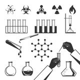 Molecular elements and test tube black icons collection on white Stock Photography