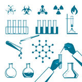 Molecular elements and test tube black icons collection on white Stock Image