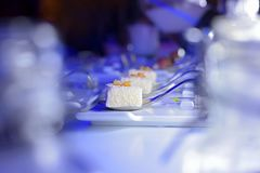 Molecular gastronomy coconut dessert on event stock photography