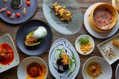 Molecular gastronomy recipes Modern cuisine. Molecular gastronomy variety of recipes Modern cuisine stock photography