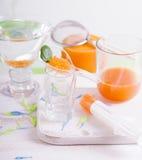 Molecular mango-carrot caviar cooking Royalty Free Stock Image