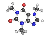 Molecular model of caffeine. Model of caffeine, stimulant drug found in coffee and in energy drinks. Atoms are represented as spheres with conventional color Royalty Free Stock Images