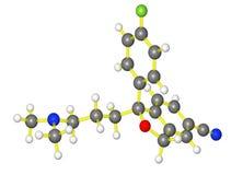 Molecular model of escitalopram Stock Images