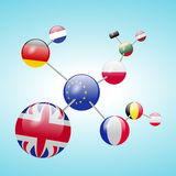 Molecular model with flags Royalty Free Stock Photo