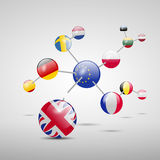 Molecular model with flags Stock Photos