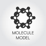 Molecular model icon in flat style. Black label for scientific, chemical, physical, educational and other projects Royalty Free Stock Photo