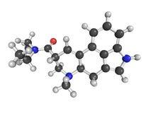 Molecular model of lysergic acid diethylamide (LSD) Royalty Free Stock Photos
