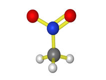 Molecular model of nitromethane Royalty Free Stock Image