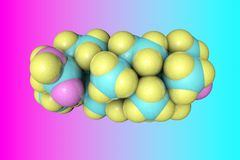 Molecular model of oleanolic acid or oleanic acid, one of the most famous antioxidant. It has anti-cancer and antiviral. Effects. Medical background. 3d royalty free illustration
