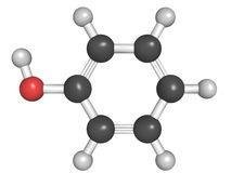 Molecular model of phenol Stock Photo