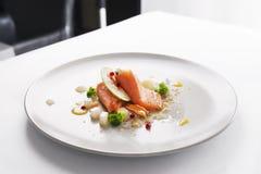Molecular modern cuisine red fish Stock Photography