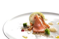 Molecular modern cuisine red fish Royalty Free Stock Images