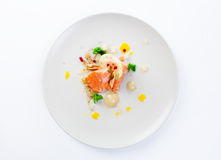Molecular modern cuisine red fish. In a dish with beautiful garnish close up. Isolated Stock Photography