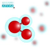 Molecular physics red atom Royalty Free Stock Photography