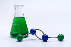 Molecular Science. Beaker and molecule on white Royalty Free Stock Images
