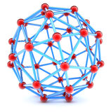 Molecular spherical lattice on a white background Royalty Free Stock Photo