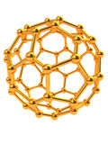 Molecular structure. Abstract 3d illustration of golden molecular structure over white background Royalty Free Stock Photo