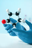 Molecular structure. Hands of scientist with a molecular structure at the lab Stock Image