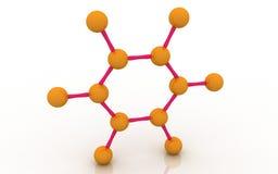 Molecular structure of benzene. 3d Molecular structure of benzene molecules Royalty Free Stock Image