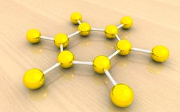 Molecular structure of benzene. 3d Molecular structure of benzene molecules Stock Photo
