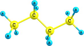 Molecular structure of butane on white Stock Photo