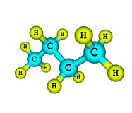 Molecular structure of butane on white Royalty Free Stock Images