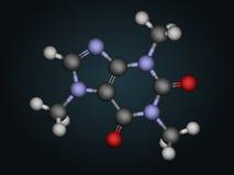 Molecular structure of caffeine. Caffeine the principal stimulant in coffee royalty free illustration